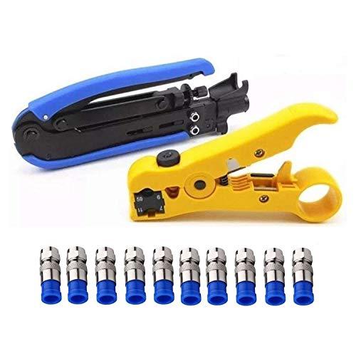 Cikuso Kompressions Werkzeug Koaxial Kabel Crimper Kit Einstellbar Rg6 Rg59 Rg11 75-5 75-7 Koaxial Kabel Abisolier Zange mit 10 Stück F Kompressions Steckverbinder - Blau Rg6-crimper