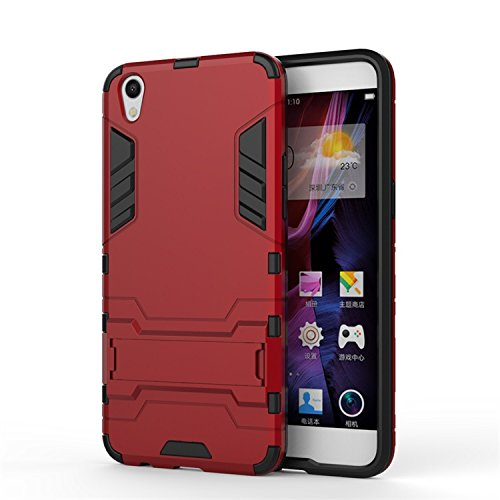 OPPO R9 Fall, 2 in 1 New Armour Tough Art Hybrid Dual Layer Rüstung Defender PC Hard Cases mit Ständer Stoß- Fall für OPPO R9 ( Color : Blue Black , Size : OPPO R9 ) Red