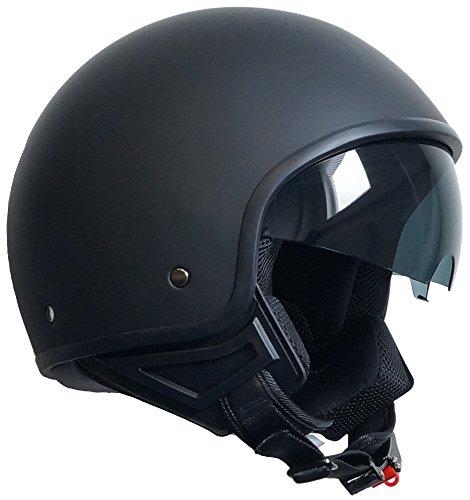 Jethelm Helm Motorradhelm Rollerhelm mit Sonnenblende Chopper RALLOX 710 schwarz/matt Größe M