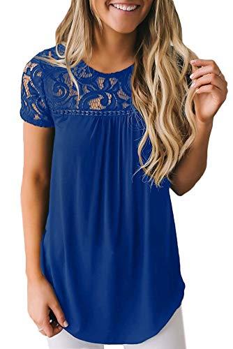 BesserBay Damen Tshirt Spitze Damentop Elegant Kurzarm Spitzenshirt Kurzarm Baumwolle Shirt mit Rundhals Blau 38 (Braune T-shirts)