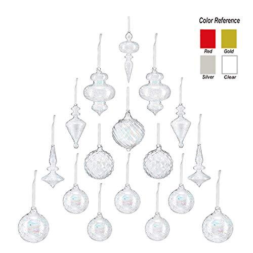 Youseexmas iridescente trasparente in vetro soffiato a bocca, decorazione natalizia, decorazioni per la casa, confezione da 17