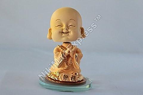 Super Cute Golden Goldsand Little Monk Bobble Head Car Home Decoration