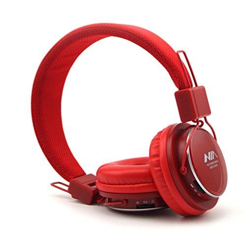 Granvela® a809 [13 colori] stereo pieghevole on ear cuffie con micro sd (tf) giocatore di musica e fm radio supporta jack da 3,5 mm nuovo moda progettato cuffie - rosso