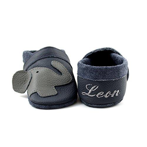 little foot company® 11312 Krabbelschuhe Babyschuhe Lauflernschuhe mit Namensstickerei Elefant weiches Leder marine 16/17 ca. 6-10 Monate