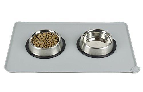 Tinkle ONE Silikon Futternapf-Matte Wasserdicht Rutschfeste Pet Futternapf Matte Füttern Tablett für Katzen und Hunde, 18.5x11.5x0.2 inches, Grau (Ata-100-spezifikationen)