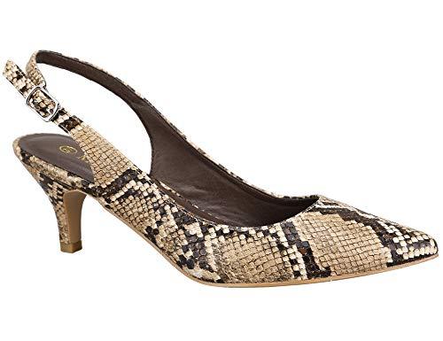Greatonu Zapatos de Tacón de Aguja Puntiagudo Clásico Básico Diario para Oficina Estampado de Serpiente...