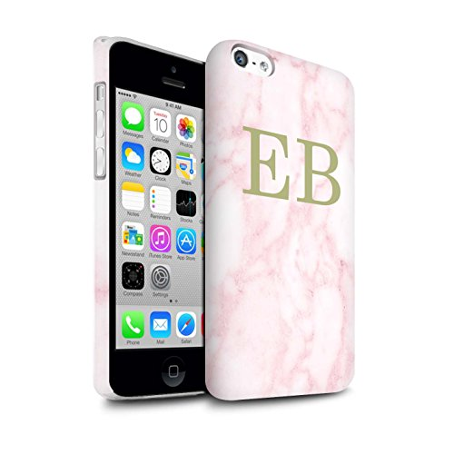 Personalisiert Rosa Marmor Mode Matte Hülle für Apple iPhone 8 / Gerahmt Rosa Marke Design / Initiale/Name/Text Snap-On Schutzhülle/Case/Etui Goldstempel