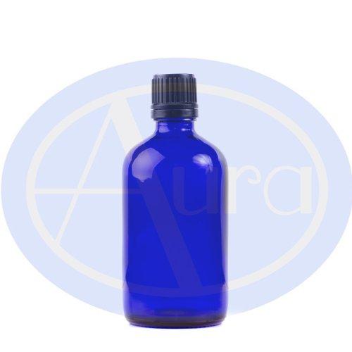 Bottiglie 100ml in vetro blu - Con tappo filettato nero e contagocce. Per la conservazione di oli essenziali / prodotti per aromaterapia.