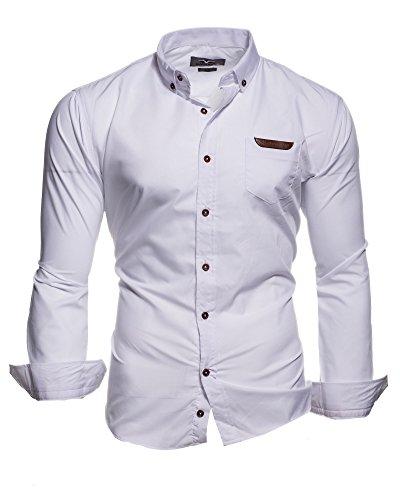 68f2f0b6fbdc Kayhan Originale Uomo Camicia Slim Fit Facile Stiro Cotone Maniche Lungo S  M L XL XXL 2XL -Modello Arizona