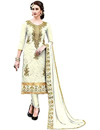 Women'S White Semi Stitched Embroidered Cotton Dress Material MSMSNKH6005I