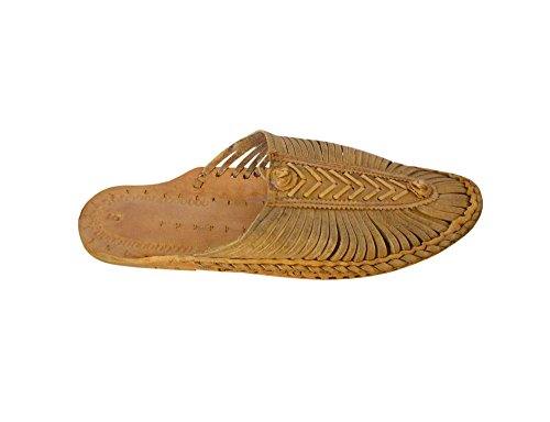 kalra Creations Veste en cuir traditionnel Indien Chaussons Tongs Casual Camel