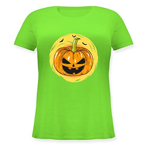 Halloween - Halloween Kürbis Gesicht - M (46) - Hellgrün - JHK601 - Lockeres Damen-Shirt in großen Größen mit Rundhalsausschnitt (Halloween-kürbisse Gesichter Schaurige Für)