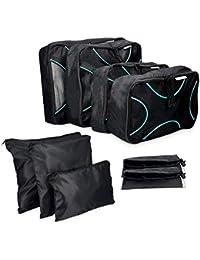 Navaris set di 9 Organizer per valigia - Sistema di borse e sacchetti organizzatori per vestiti scarpe - Astucci da viaggio per valigie - nero bianco