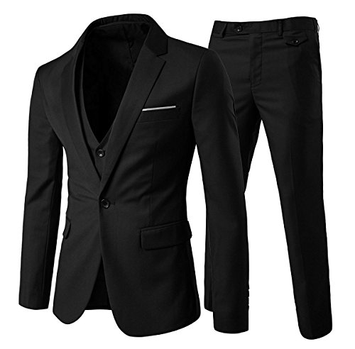 Slim Fit  3-Teilig Business Herrenanzug ein Knopf Smoking,Schwarz, Gr. L