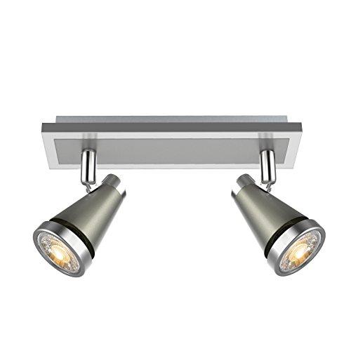 Ascher LED Deckenleuchte Schwenkbar ( Inkl. 2 x 5W GU10 COB LED Lampe, 450LM, Warmweiß), LED Deckenlampe LED Deckenstrahler LED Deckenspot