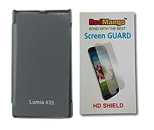 RedMango Flip Cover Case for Microsoft Lumia 435 - Black + Screen Protector