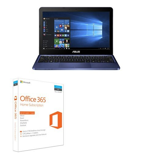 Price comparison product image ASUS E200HA-FD0042TS 11.6 inch Notebook Pre-Installed with Microsoft Office 365 (Intel Quad-Core Atom x5-Z8350 Processer, 2 GB RAM, 32 GB eMMC, HD Screen, Windows 10) - Navy + Microsoft Office 365 Home