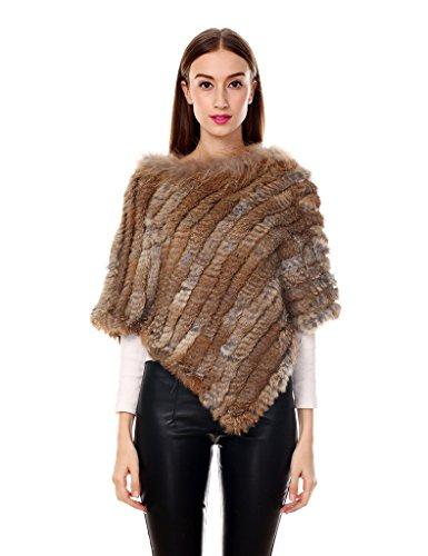 Ferand - poncho elegante mantella casdo inverno a maglia in pelliccia vera di coniglio con colletto in pelliccia di procione - donna - taglia unica - marrone naturale