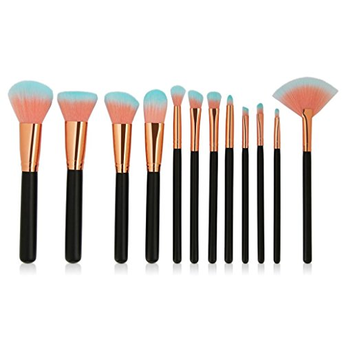 Moonuy Filles Accessorize Pinceaux de Maquillage 12PCS Make Up Foundation Eyebrow Eyeliner Blush Makeup Brushes, cadeau Brosse de maquillage professionnelle sertie de poils synthétiques super doux (Noir)