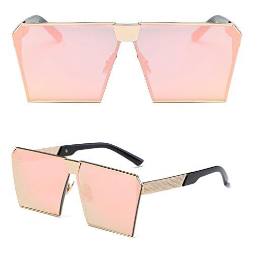 Logres 1 Paar Damen Fashion Retro Oversized verspiegelt Designer Sonnenbrille Brille (#016) - rose