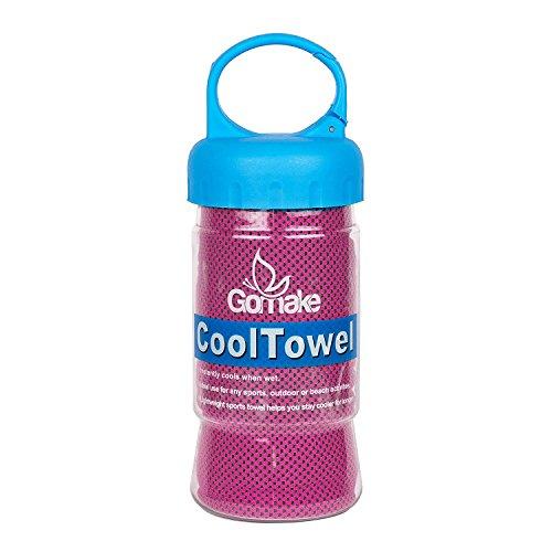 Gomake Kühl-Handtuch, 120x 30cm, doppelseitig, weiches Polyester für empfindliche Haut. Super saugfähige Mikrofasern absorbieren Schweiß und halten Sie für Stunden Kühl., rose, small 120cm x 30cm