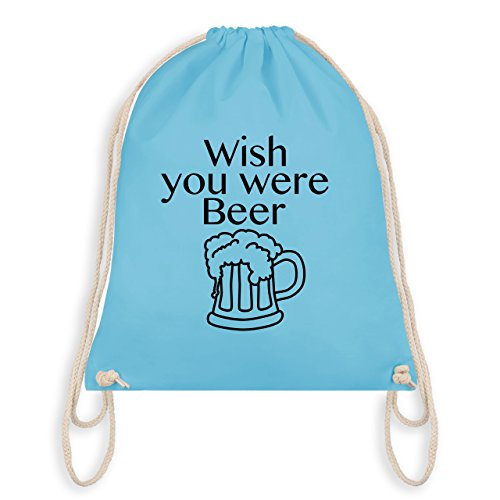 Oktoberfest Damen - Wish you were Beer Bierkrug - Turnbeutel I Gym Bag Hellblau