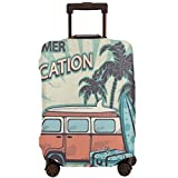 Travel Luggage Cover,Hippie Van Near Coconut Palm Trees Floral Suitcases and Surf Boards Suitcase Protector