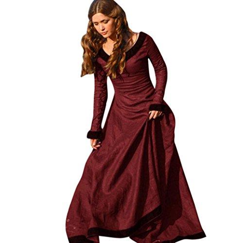 Kanpola Damen Cosplay Kostüm Mittelalter Röcke Prinzessin Renaissance Gothic Röcke (XL, Rot) (Neckholder Kleid Plissee Satin)