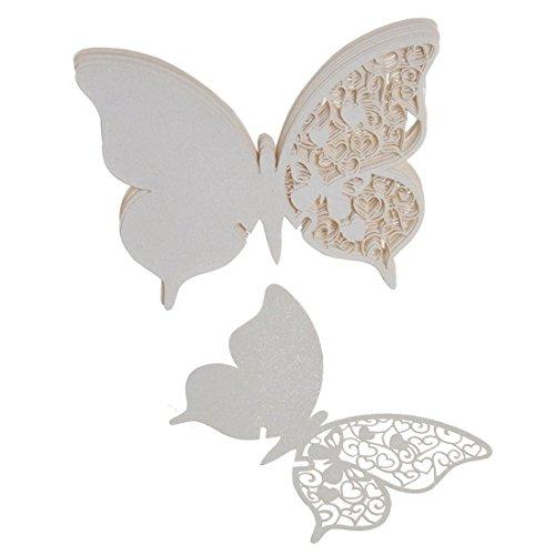50x Schmetterling Weinglas Tabellennamen Platzkarte Hochzeits Weihnachts Beguenstigen Weiss