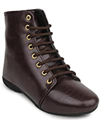 Beautiful Brown Color Synthetic Women's Boots From Sheneya::AB_BROWN_36