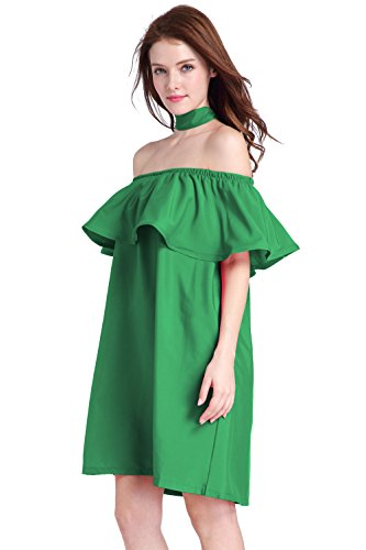 Femmes Sexy Halter bateau Collier Lotus Leaf Lacing Mini jupe Clubwear robe Vert