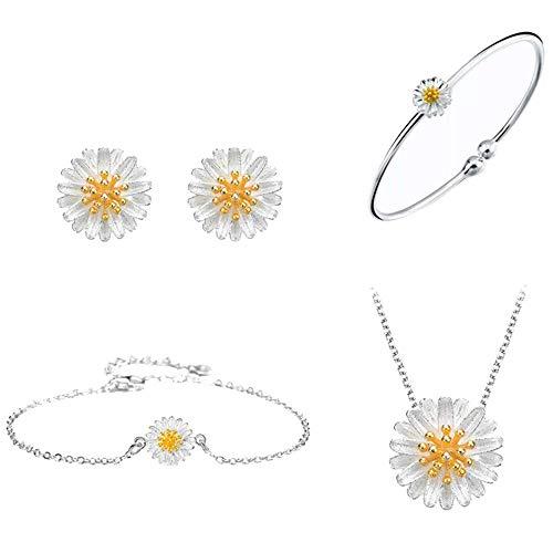Purmy Frauen Schmuck Set Sterlingsilber Halskette Ohrringe Armband Armreif Set Kleines Gänseblümchen Gestalten ()