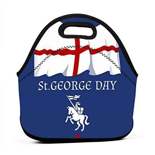 Kinder Lunchtaschen für Mädchen - St. George's Day mit Flagge und Ritter auf Pferd, günstige Taschen für Frauen, 3D-Druck, Lunchbox, Lebensmittelbehälter, Picknick-Taschen, Handtasche