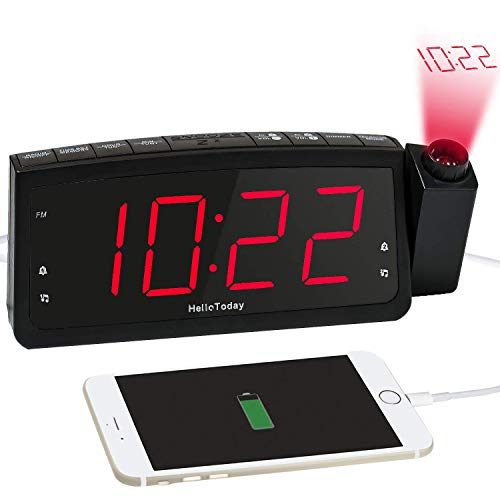 HelloToday Projektionswecker, FM Radiowecker-Doppelalarme, Große Digitale LED-Anzeige, USB-Ladeanschluss, Snooze, Dimmer