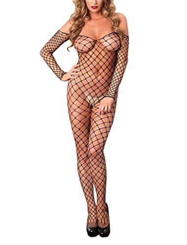 EROSPA® Grobnetz-Bodystocking schulterfrei Catsuit Netz ouvert sexy lange Ärmel rückenfrei Körperanzug Onesize schwarz (Schulter Bodystocking)
