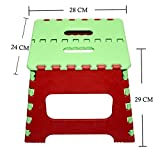 #6: Maa Bhagwati High Quality Foldable Stool for Stepping up Or Sitting, Foldable Pick N Move Stool (29x28x24cm) (Green+Red)