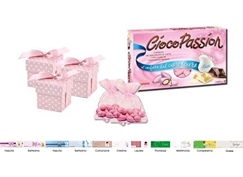 Bomboniere fai da te scatoline pois pudp5 + confetti + sacchetti +bigl (rosa pudp5-r)