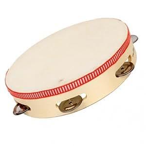 Nct - Tambourin 6 cymbales et peau 22 cm Instrument de musique en bois pour enfants