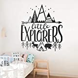 Qscwdv Little Explorer Vinyl Wall Stickers For Baby Nursery Removable Wall Decals Kids Room Woodland Adventure Home Art Decor Wallpaper 64 * 56Cm