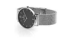 Armbanduhr I Uhr für Damen & Herren I Designer Uhr aus Edelstahl I Druckverschluss I Schwarz & Silber I Ausgefallene Designuhr inkl. Werkzeug