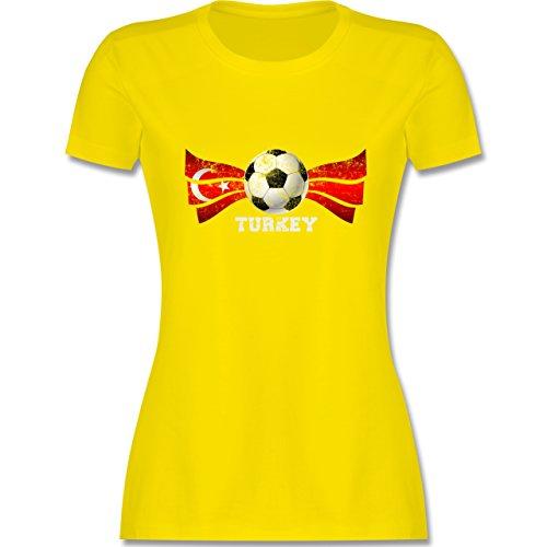 EM 2016 - Frankreich - Turkey Fußball Vintage - tailliertes Premium T-Shirt mit Rundhalsausschnitt für Damen Lemon Gelb