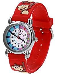 Relda Girl's-Boy's Time Teacher 3D Monkey Silicone Strap Watch + Telling The Time Award