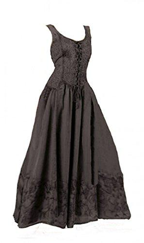 ttelalter Gothic Schnürung Audry schwarz rot grün braun weiß 36 38 40 42 44 46, Größe:L/XL, Farbe:schwarz (Mittelalter Kleid Weiss)