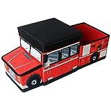 TE-Trend Faltbare Feuerwehr Auto Aufbewahrungsbox Ordnungsbox Spielbox Kinder Jungen Spielzeugtruhe Hocker Deckel rot Mehrfarbig