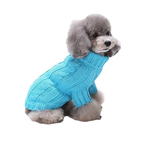 YiJee Kleine Hunde Winter Gestrickte Pullover Haustier Warm Kleidung Wintermantel Blau XXL