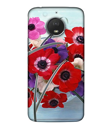 PrintVisa Designer Back Case Cover for Motorola Moto E4 Plus (Floral Plant Bloom Red Fresh Pink Colorful Green)