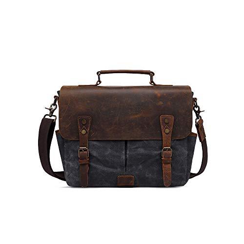ZYXB Vintage 15,6 Zoll Laptop Handtasche Männer Umhängetasche Canvas hinzufügen Leder Crossbody Messenger Bags Reißverschluss Aktentasche Männer Tasche,Dark Gray - Hinzufügen Leder