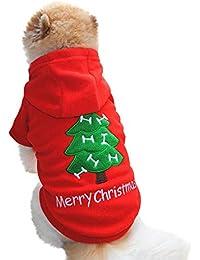 Ropa para Mascotas Gusspower Sudadera con Capucha Impresión del árbol de Navidad suéter Perrito Ropa de Invierno Espesar Forro Polar