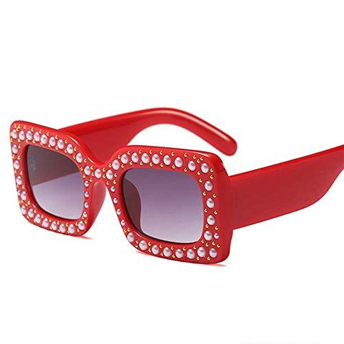Lisa旗舰店 Europäischer und amerikanischer Kindermode-Trend eingelegte Perlenquadrat-Sonnenbrillen für Kinder im Alter von 8-14,Red (Schmuck-box Für Kinder Im Alter Von 8)