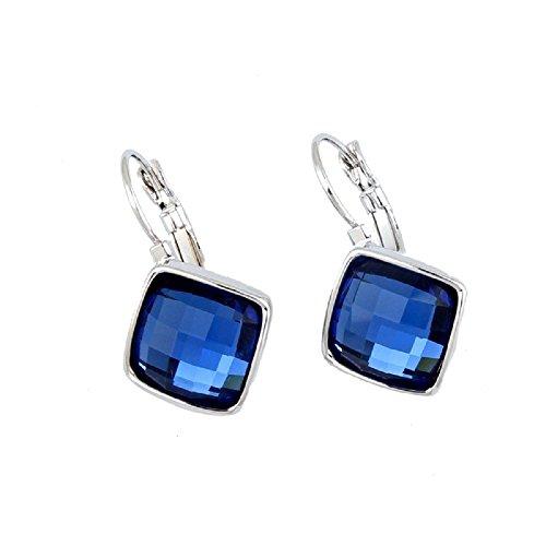 Cristalli Swarovski di colore blu zaffiro a rombi quadrato Ciondola leva posteriore orecchini placcati in oro bianco 18kt